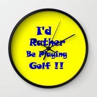 golf Wall Clocks featuring Golf by Brian Raggatt