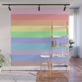 Pastel Rainbow Stripes Wall Mural