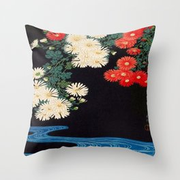 Ohara Koson Chrysanthemums and Running Water 1931 Japanese Woodblock Print Vintage Historical Throw Pillow