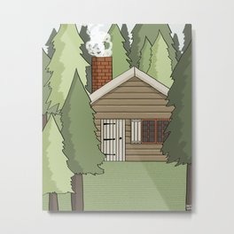 Deep in the Forest Illustration Metal Print