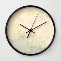 bubbles Wall Clocks featuring Bubbles  by Laura Ruth