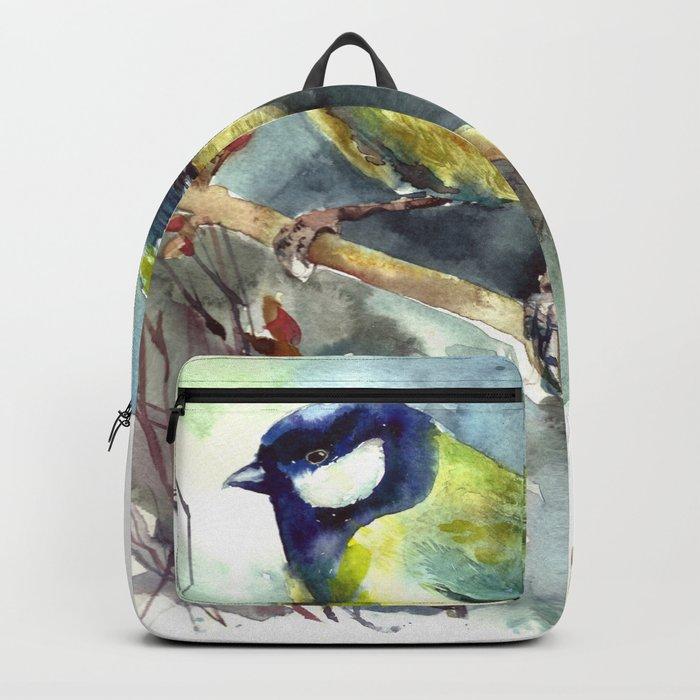 Watercolor aquarelle titmouse bird Backpack
