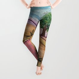 Zen Dreams in the Hills Mixed Media Leggings