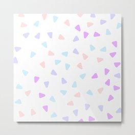 Minimalist Scandinavian Style Stone Inspired Round Triangle Pattern Purple Cotton Candy Metal Print