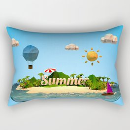 summer holiday with low poly style Rectangular Pillow