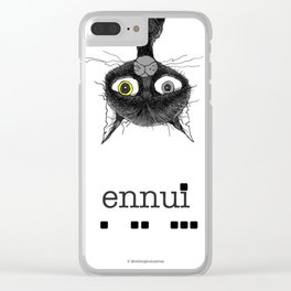 Ennui is one complicated emotion of a cat! Clear iPhone Case