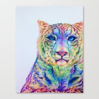 snow leopard Canvas Prints featuring Snow Leopard by Disha Trivedi