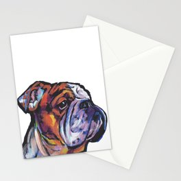 Fun English Bulldog Dog Portrait bright colorful Pop Art Painting by LEA Stationery Cards
