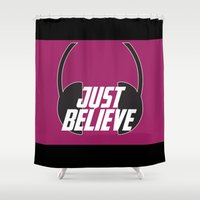 headphones Shower Curtains featuring Believe (Headphones) by LILCDESIGNS