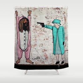 Street Art London Queen Thug Urban Wall Graffiti Artist Prolifik Shower Curtain