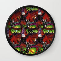 spawn Wall Clocks featuring Spawn 1 cover by Mr D's Abstract Adventures