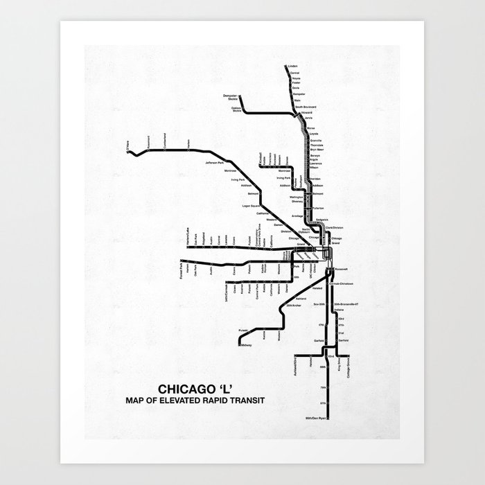 Chicago CTA Map, Chicago Map Art, CTA Art, Chicago Wall Art, Chicago on