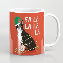 Boston Terrier Elf Christmas holiday art print with cute small dog breed terrier dog lover gift idea Coffee Mug
