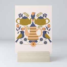 Folk art teapots and birds Mini Art Print
