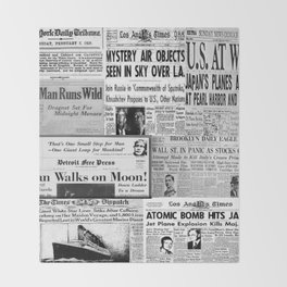 Vintage News Headlines Throw Blanket