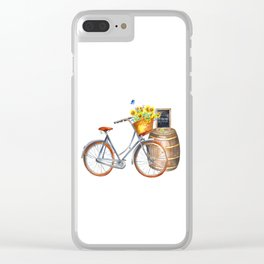 Sunflower Bicycle Clear iPhone Case
