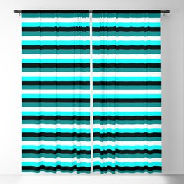 Eye-catching Dark Cyan, White, Aqua & Black Stripes/Lines Pattern Blackout Curtain