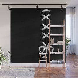 Laced White Ribbon on Black Wall Mural