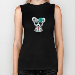 Teal Blue Day of the Dead Sugar Skull Polar Bear Biker Tank