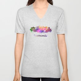 Thessaloniki skyline in watercolor Unisex V-Neck