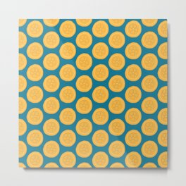Orange Blue Summer Pattern Metal Print