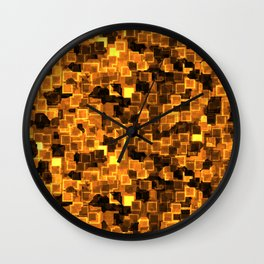 Golden Cyber Glow Neon Squares Pattern Wall Clock