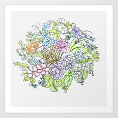 arrangement of flowers in pastel shades on a white background Art Print