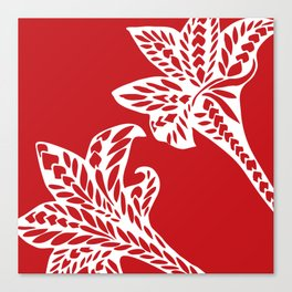 Retro Red Chic Polynesian Tribal Geometric Graphic Floral Tattoo Canvas Print