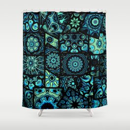 Patchwork in Blues Shower Curtain