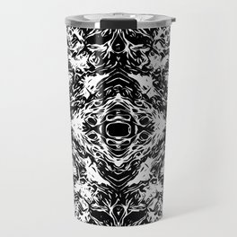 vintage psychedelic graffiti symmetry art abstract in black and white Travel Mug