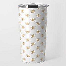 Gold Metallic Faux Foil Photo-Effect Bees on White Travel Mug