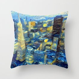 """Gogh's Town by night"" Throw Pillow"