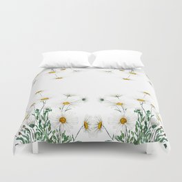 white Margaret daisy watercolor Duvet Cover