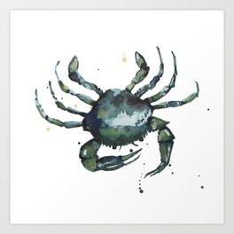 Crab, nautical art, seashore creatures, crab watercolor, natural crab painting, crab pillows,  Art Print