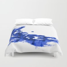 Paint 9 abstract indigo watercolor painting minimal modern canvas affordable dorm college art  Duvet Cover