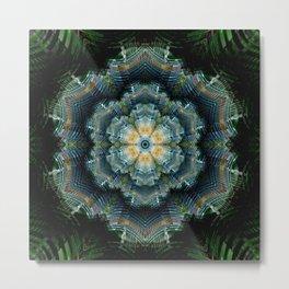 Abstract tweed flower mandala Metal Print