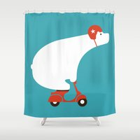 budi satria kwan Shower Curtains featuring Polar bear on scooter by Picomodi