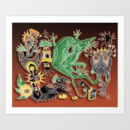 dancing geckos Art Print