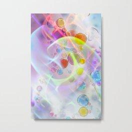 Unicorn Fantasy Rainbow Neon Bubbles VII Metal Print