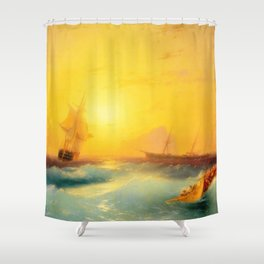 Ivan Aivazovsky - American Shipping off the Rock of Gibraltar Shower Curtain