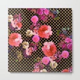 Elegant Pink Vintage Flowers Black Gold Polka Dots Metal Print