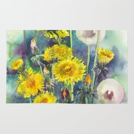 Watercolor dandelion flowers illustration Rug