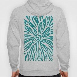 Blue Linocut Flower Textile Hoody