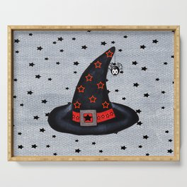 Black Witch Hat Silver Buckle Black Stars Cute Dangling Spider Serving Tray