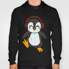 Cute Penguin with Headphones Hoody