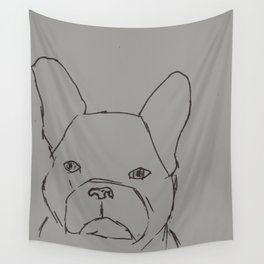 Sketched Frenchie (Grayscale) Wall Tapestry
