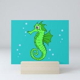 Cute Cartoon Seahorse Under The Sea Green & Blue Mini Art Print