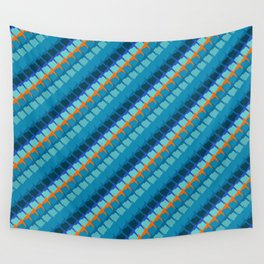 Blue multicolor geometric pattern with diagonal lines Wall Tapestry