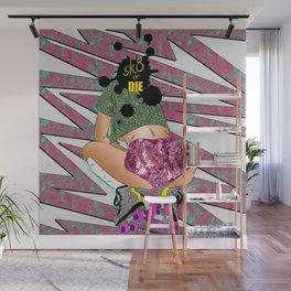 sK8 or Die - Cheeky Roller Derby Girl Digital Illustration Wall Mural