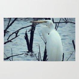 Great Egret White Bird Blue Water A107 Rug